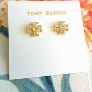 Tory Burch Crystal Logo Gold Stud Earrings